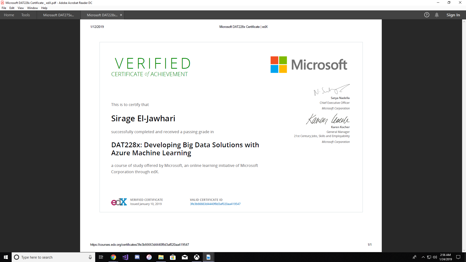 edx certificate not in sync with microsoft data sceince