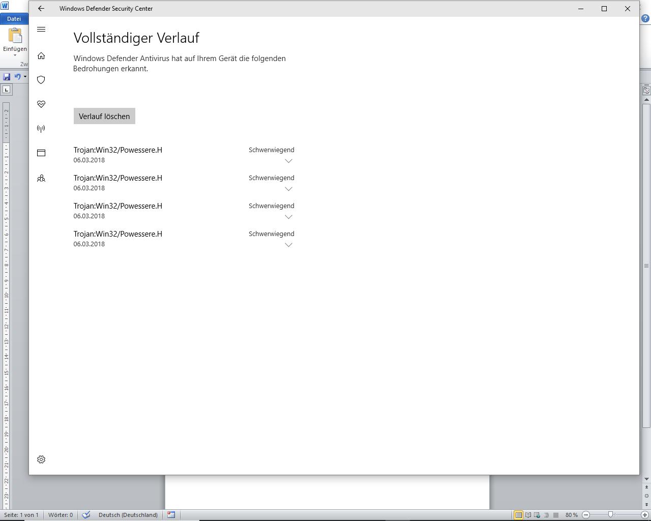 Wie kann ich im Defender Dateien Löschen, die unter Quarantäne gestellt wurden