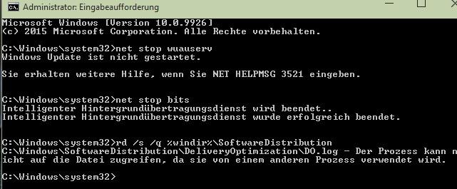 Windows update Fehler 0x80070057