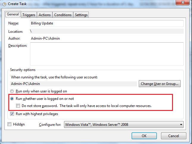 windows 7 task scheduler run whether user logged on or not not