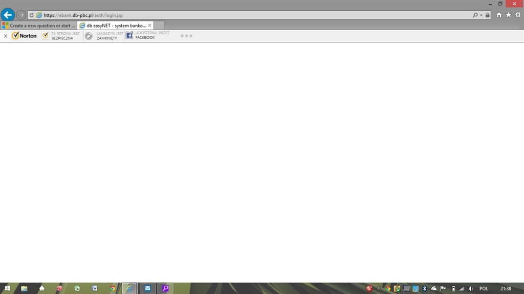 Getting Blank Webpage while opening bank website - Microsoft