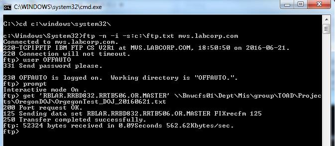 FTP Through VBA creates 0 (zero) byte file at destination