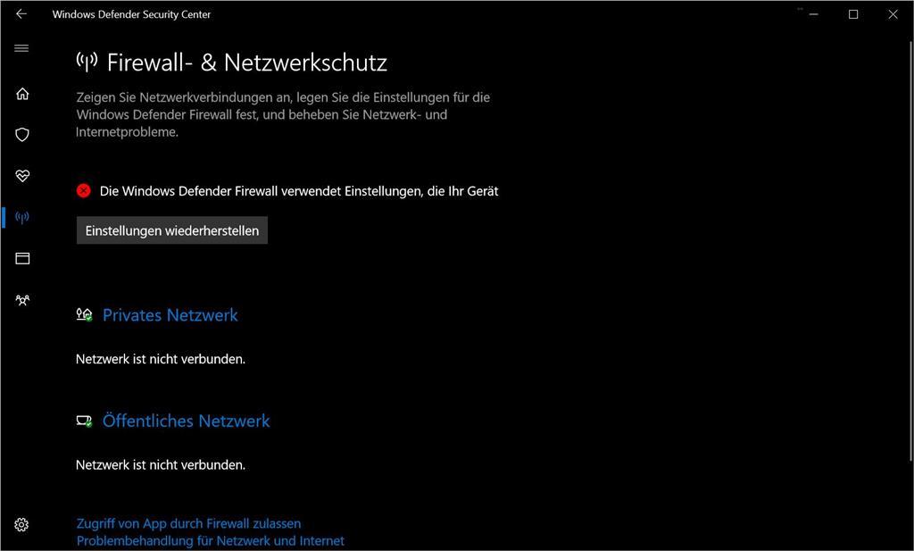 Problem mit Firewall-Status von Windows Defender