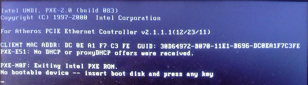 Lenovo G580 'No bootbale device' error - Microsoft Community