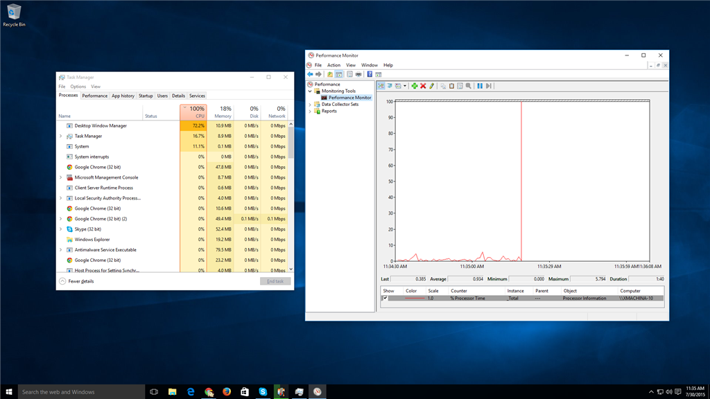 Windows 10 Task Manager shows 100% CPU but Performance Monitor