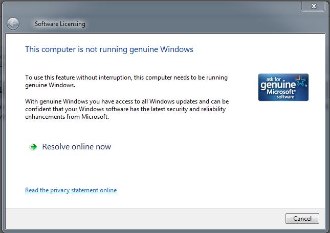 This computer is not running genuine Windows - Microsoft Community