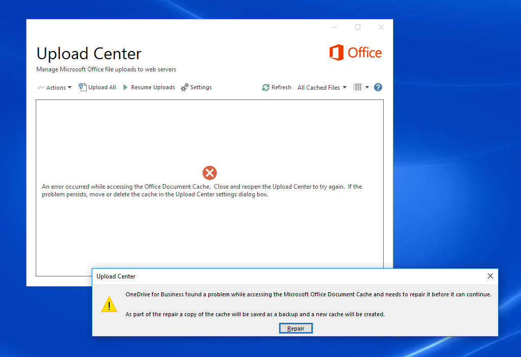 Microsoft Office Document Cache constantly needs to repair file, but