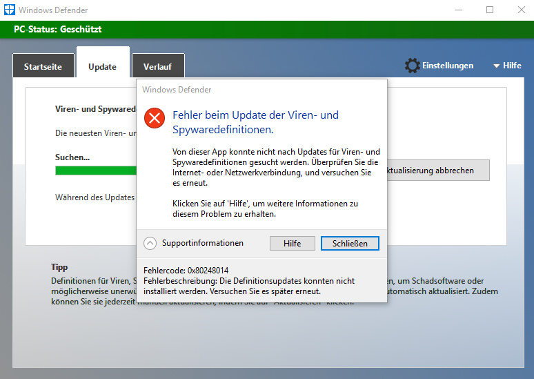 Cant update windows defender 0x80248014 microsoft community for Window defender update