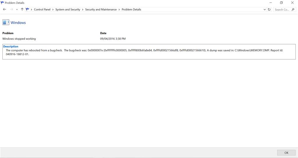Bugcheck Error: 0x0000007e in Windows 10 - Microsoft Community