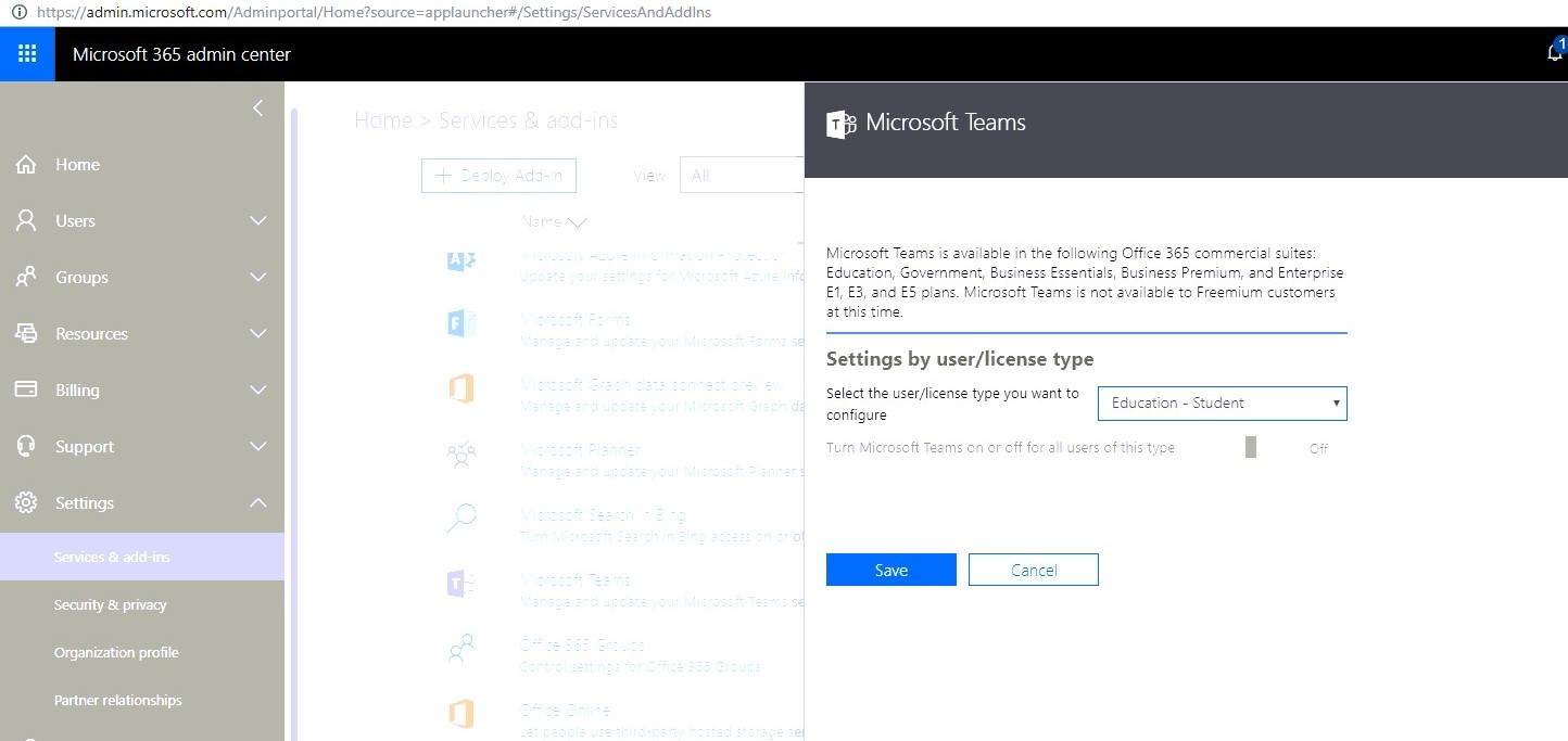 Microsoft teams - Settings > Services & add-ins