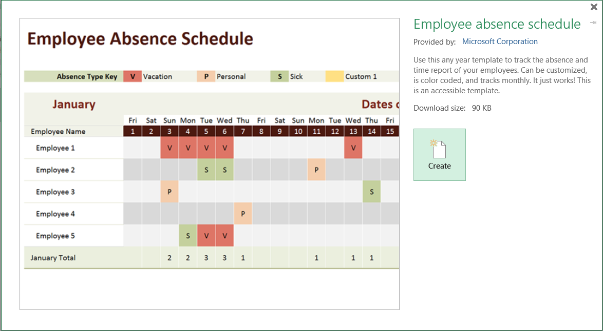 excel template - employee absence schedule