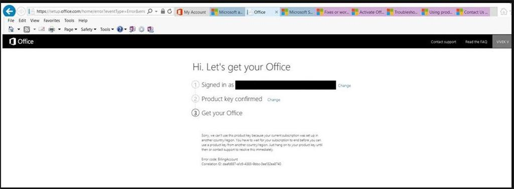 Office 365 home activation issue | Error code: BillingAccount
