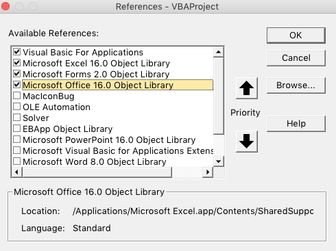 microsoft office 16 object library