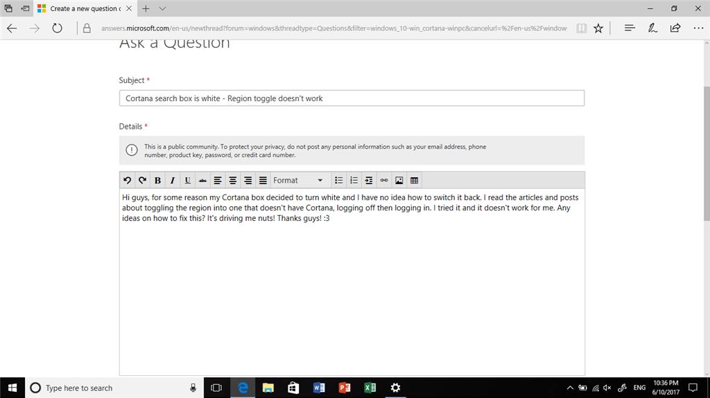 cortana search not working windows 10