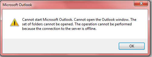 Can't open Outlook, connection to server is offline