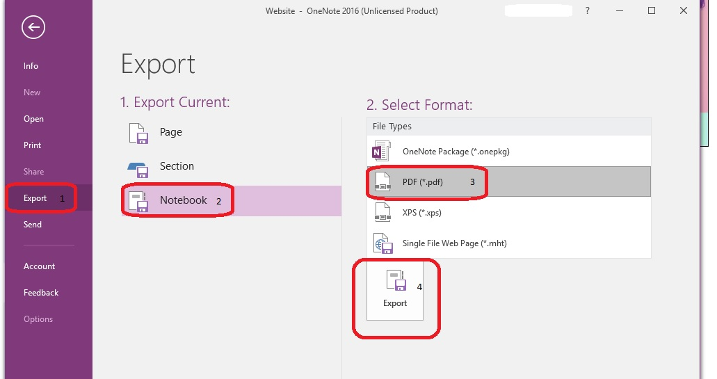 Converting OneNote App to pdf - whole notebook - Microsoft