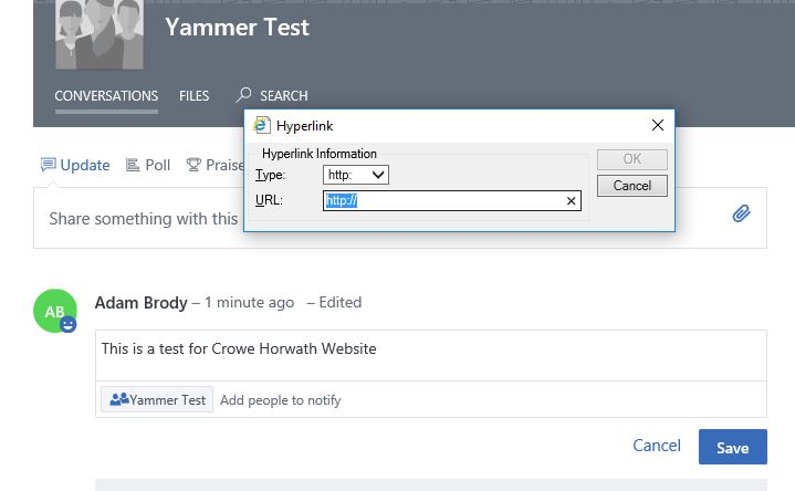 Yammer - Can't add Weblink to selected word in Yammer Group