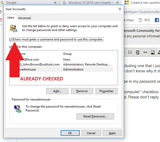 Can't DISABLE auto login - Microsoft Community