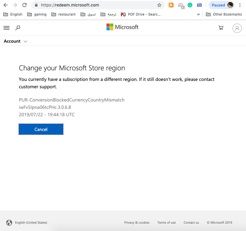 Change your Microsoft Store region ?? [IMG]