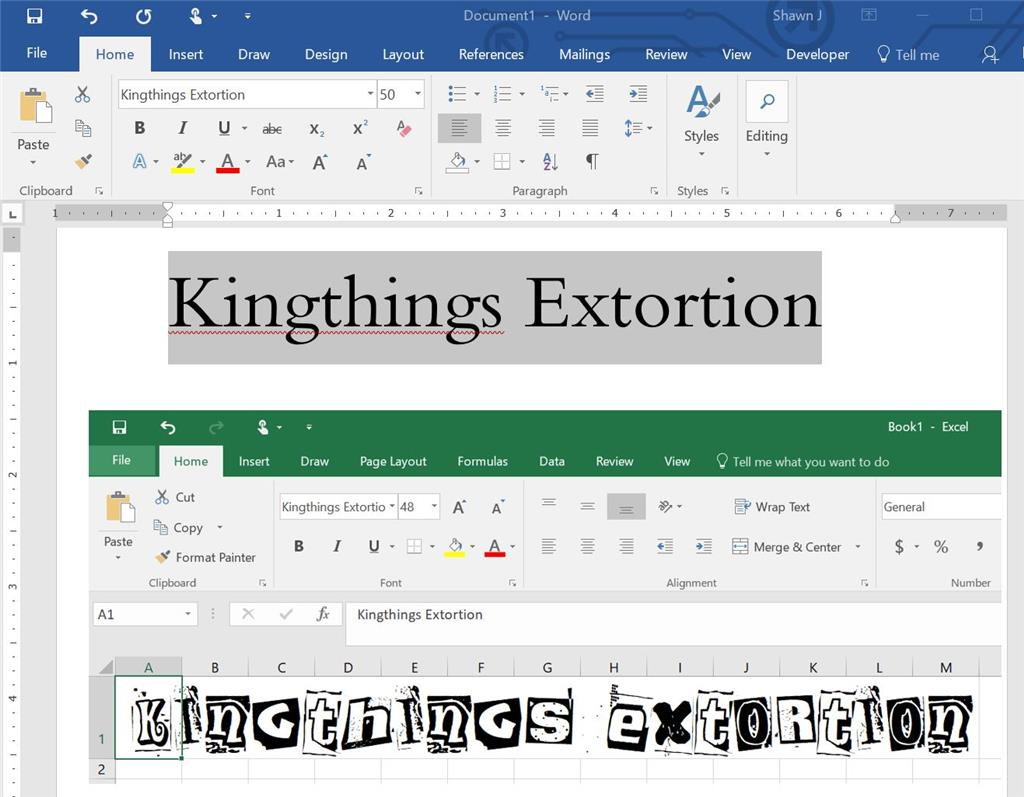 installed font working in excel powerpoint other programs but