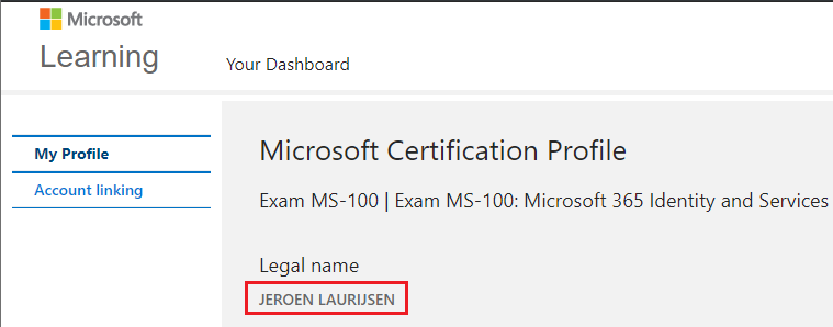 How can I change the legal name of my Microsoft Certification