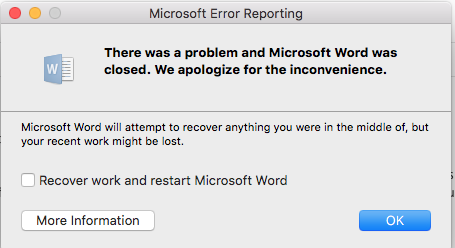 Should I try fixing Mac OS to stop Word from crashing