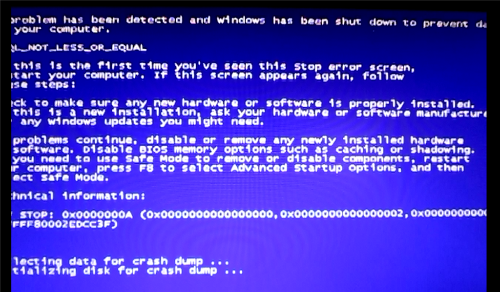 IRQL_NOT_LESS_OR_EQUAL blue screen STOP: 0x0000000a , - Microsoft