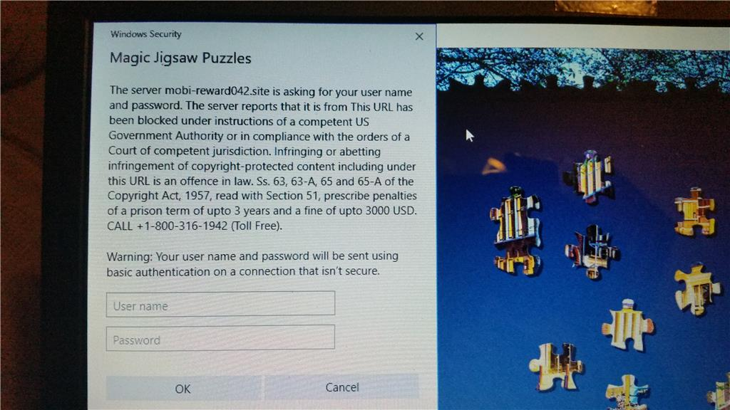 magic jigsaw puzzle app on windows 10 has phishing popup microsoft