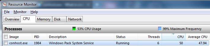 conhost.exe 100 cpu usage