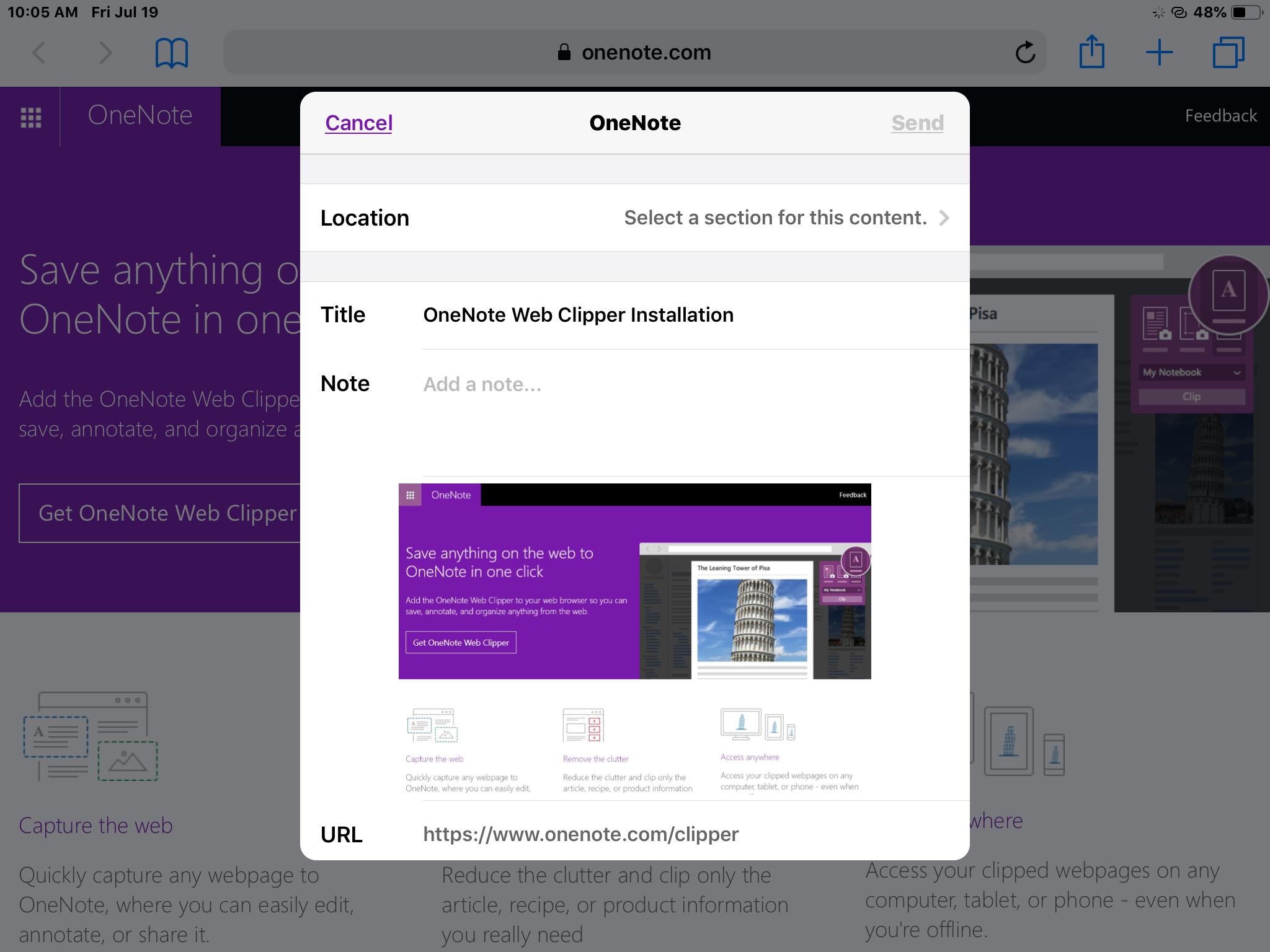 OneNote web clipper for iPad Under Safari - Microsoft Community