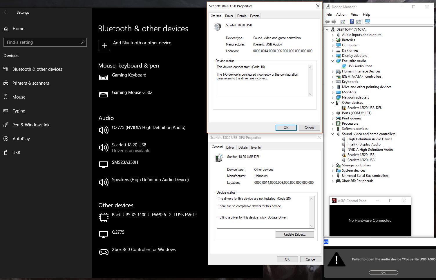 audio interface issue on last windows update microsoft community. Black Bedroom Furniture Sets. Home Design Ideas