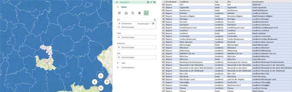 Karte Oberbayern Landkreise.Excel 2016 3d Karten Landkreis Munchen Microsoft Community
