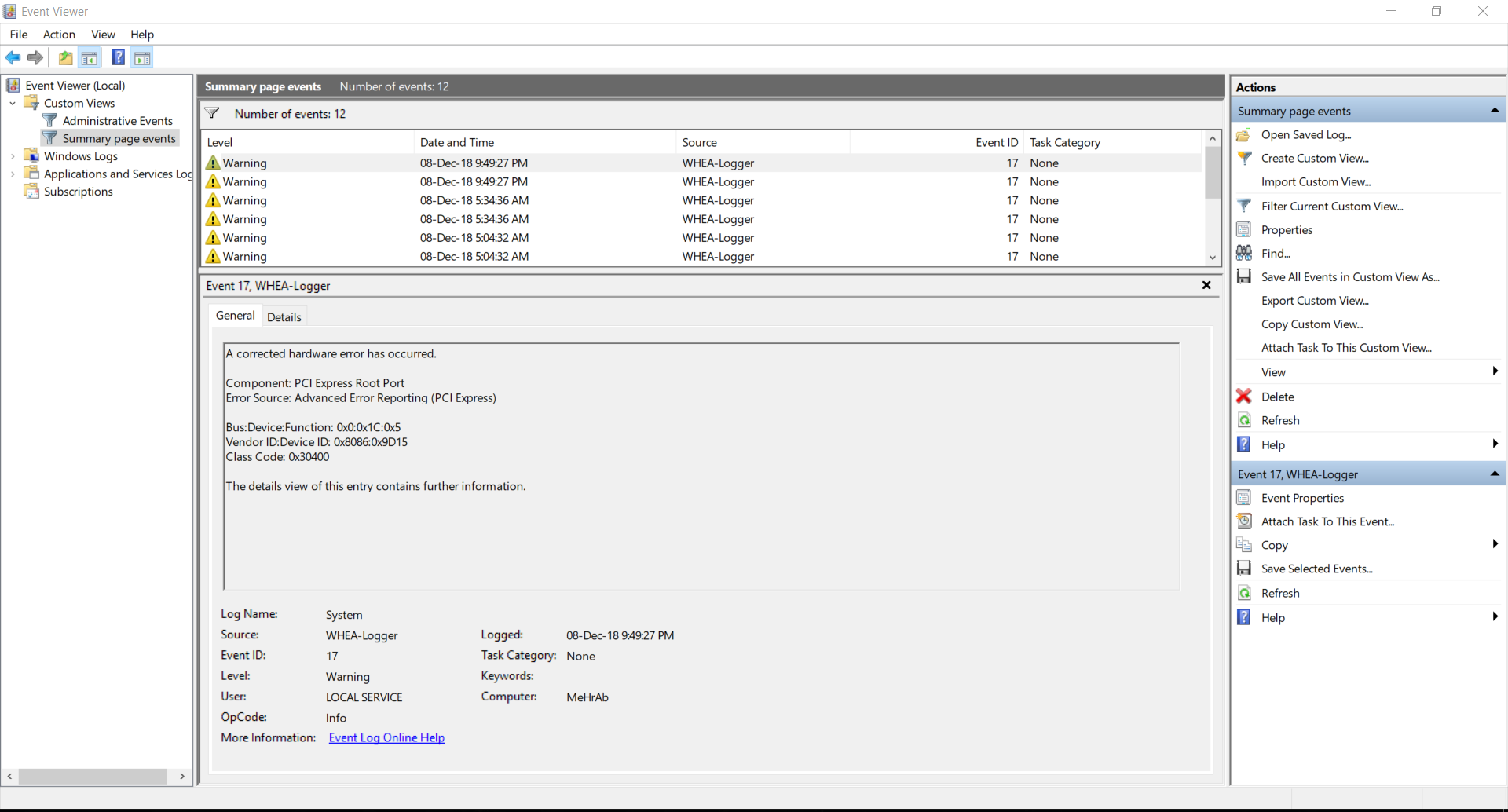 WHEA-Logger event ID 17, Windows 10 - Microsoft Community