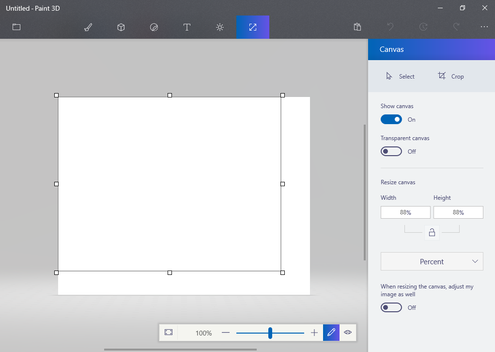 How do I customize the size of Paint 3D's Canvas? - Microsoft Community