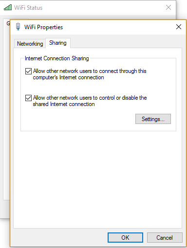 internet connection sharing is lost everytime windows 10 is