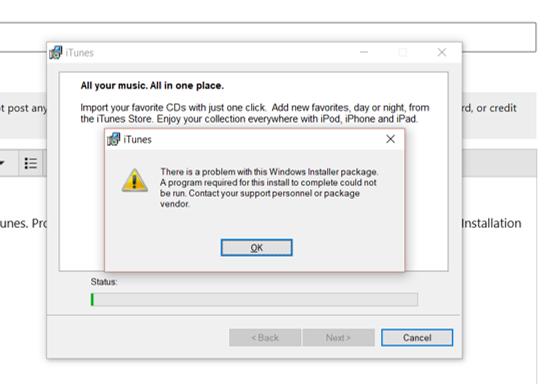 cannot install itunes 12 7 2 60 - Microsoft Community