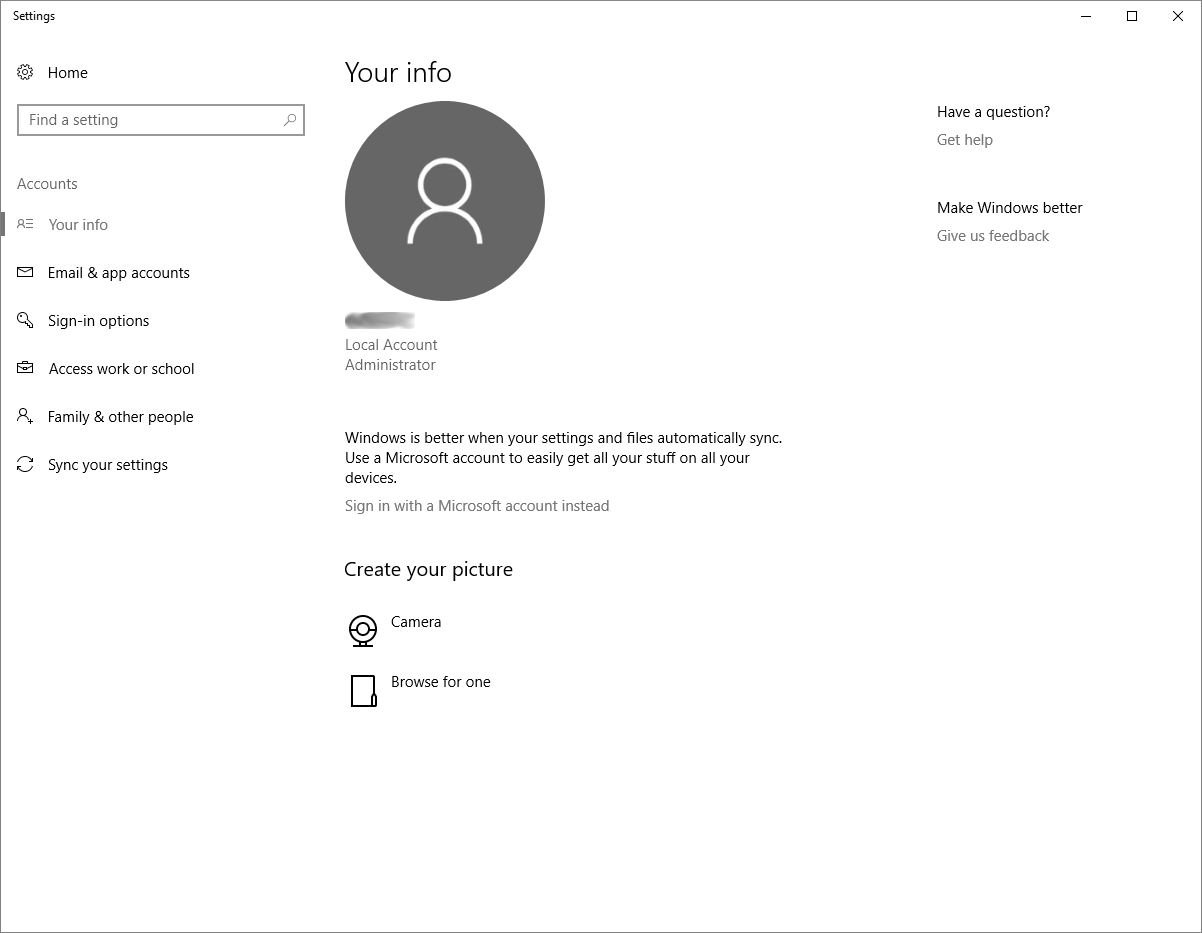 How can I change the local username on my Windows 10 Home