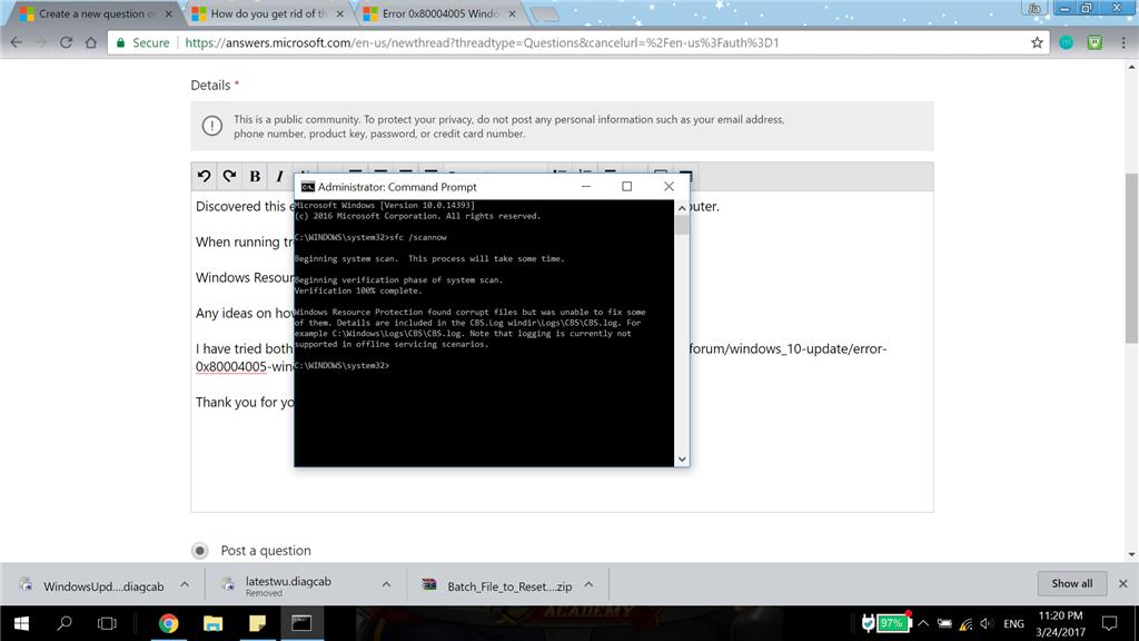 0x80004005 error - Microsoft Community