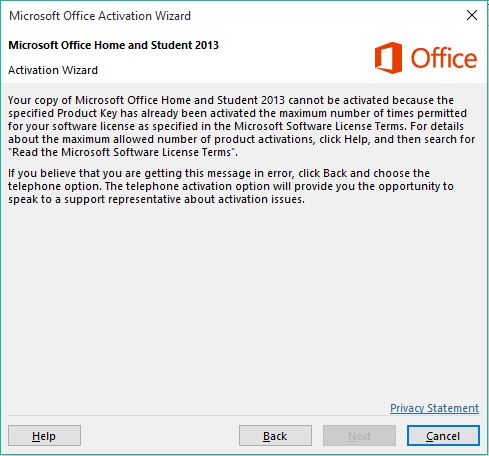 unable to activate office 2013 with product key