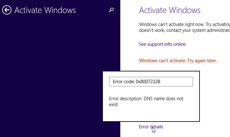 windows 10 pro cant activate try again later