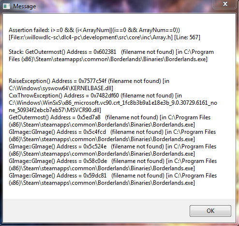 Assertion Failed - Borderlands  2k unable to solve  - Microsoft