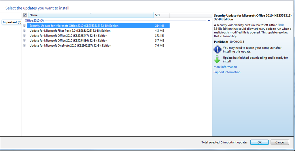 windows 7 32 bit updates fail