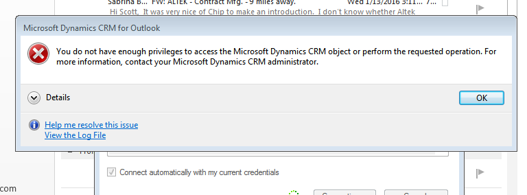 Download and install microsoft dynamics crm outlook client.