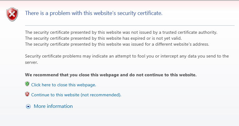 Ssl Certificate Error There Is A Problem With Website Microsoft