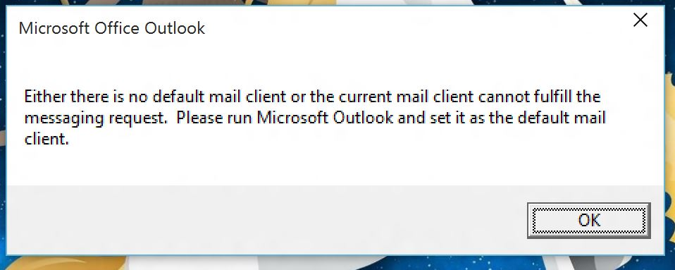 Outlook 2016 Preview - 'No default mail client' error