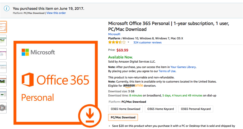 microsoft office 365 key card vs download