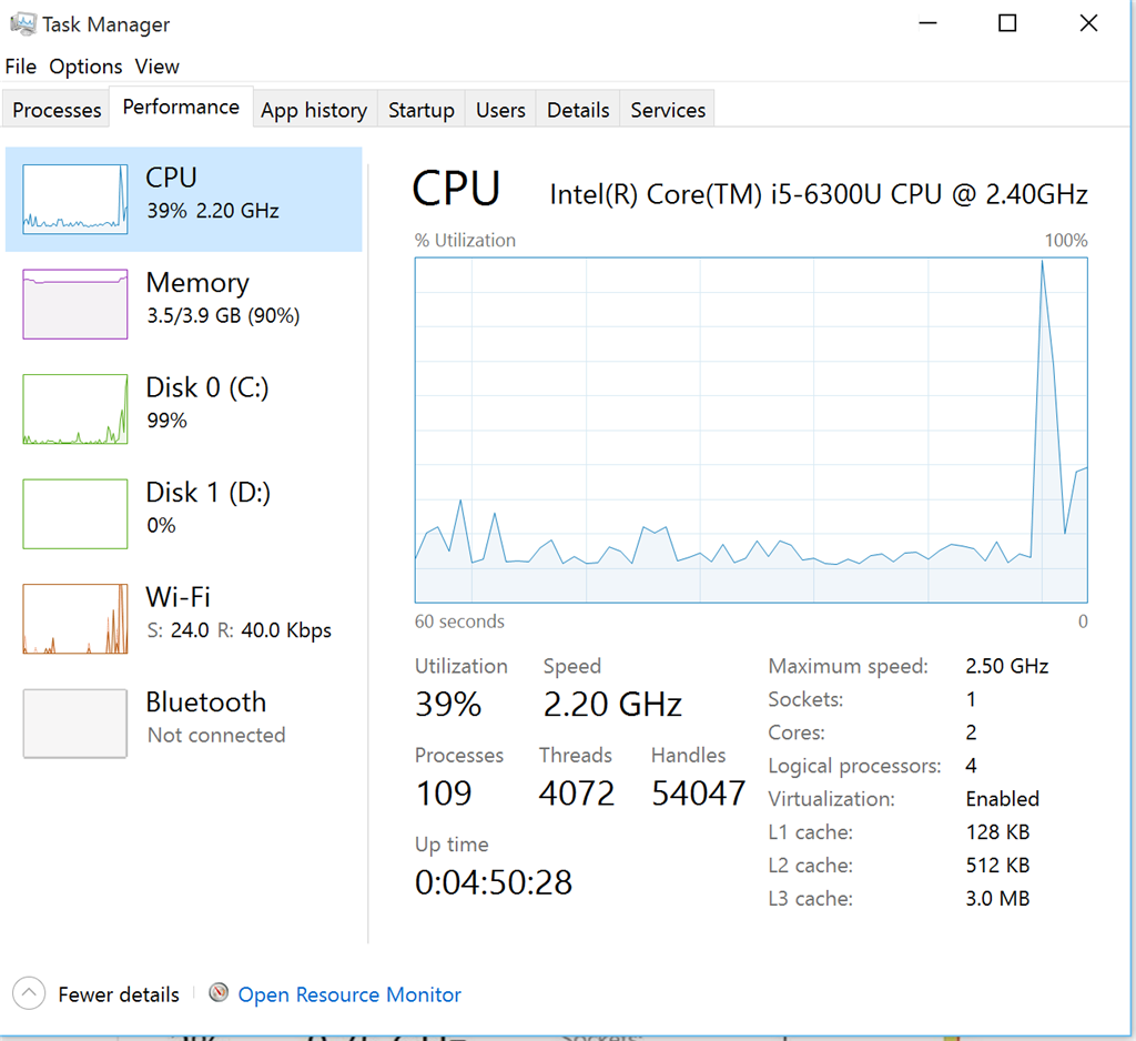 task manager memory 100