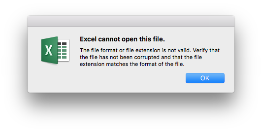 Can't open  xlsx files with Office 365 for Mac  - Microsoft