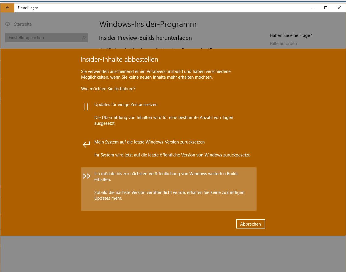 Win 10 - Windows Insider Programm 'Reparatur Erforderlich' Problem