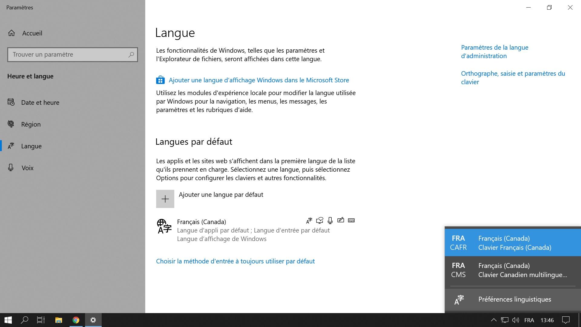 Supprimer une disposition de clavier avec Windows 10